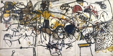 """Spanish Encounter"" John Olsen. Retrieved from http://www.artgallery.nsw.gov.au/collection/works/OA29.1960.a-c/"