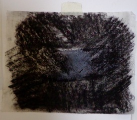 Drawing Wk 3 #11. B&W oil stick on butter paper.