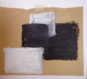 Drawing Wk 3 #7. B&W oil stick on brown paper.