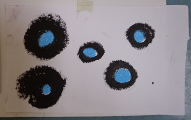 Drawing Wk 3 #4. Black and blue oil stick on paper.