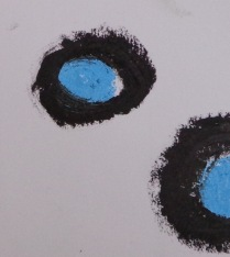 Drawing Wk 3 #4 close up. Black and blue oil stick on paper.